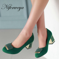 חדש 2016 אופנה גודל גדול 31-48 נשים עגולה מזדמן נעליים משאבות הבוהן עקבים גבוהים קישוט מתכת שחור אדום צהוב ירוק AYY-080