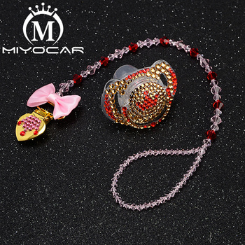 MIYOCAR any name bling heart pacifier clip personalized holder dummy with set  SP007