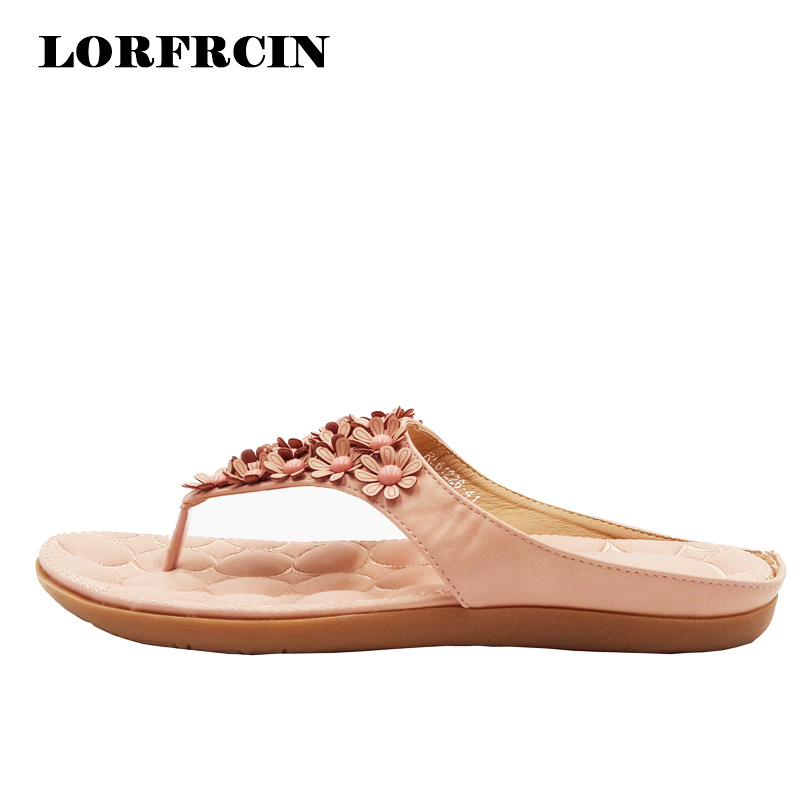 2017 New Summer Shoes Bohemian Sandals Shoes Flat Shoes Woman Flower Flip Flops Sandals for Women Beach Slippers Plus size 34-45 kuyupp fashion leather women sandals bohemian diamond slippers woman flats flip flops shoes summer beach sandals size10 ydt563