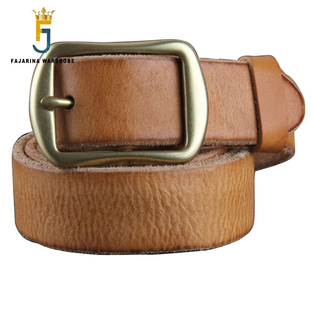 FAJARINA rétro ceintures femme modèle véritable cuir de vachette Pure all-match étroit Jean laiton boucle dames ceinture 3 cm de large N17FJ099