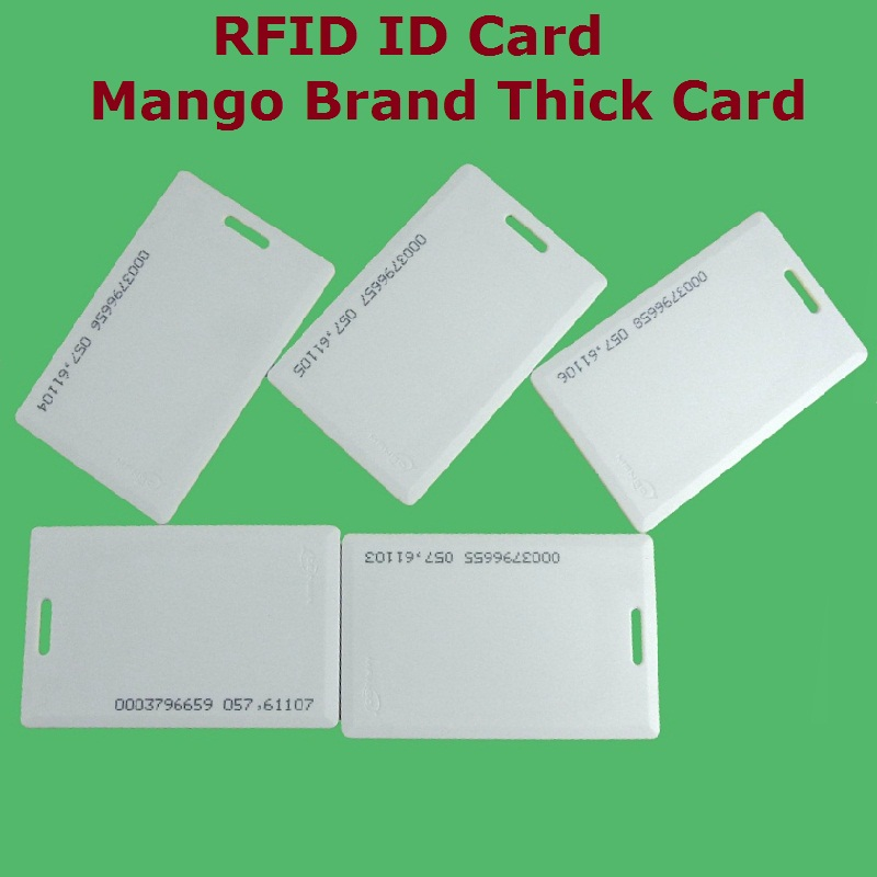 10pcs/Lot Proximity EM / ID RFID 125khz Smart Thick ID Card Mango Brand Access Control System High Quality