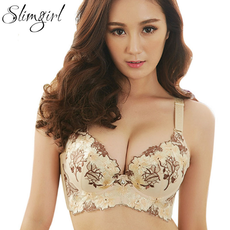 Slimgril Women's <font><b>Sexy</b></font> Comfortable Bras Lace Underwire Floral Embroidery Push Up 3/4 A <font><b>B</b></font> C <font><b>D</b></font> Cup Bra <font><b>Girl</b></font> 's Big Size 32 34 36 38 image