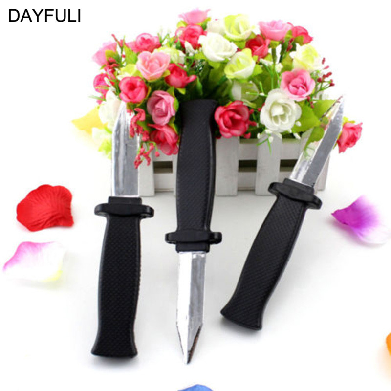 Hot Halloween Supplies Comedy Magic Plastic Retractable Dagger Joke Prank Props Knife Scary Trick Party Decoration