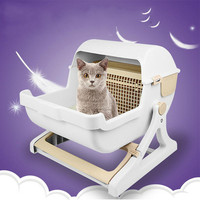 ПЭТ Полуавтоматическая кошачий Туалет большой полузакрытый кошачий ящик для мусора прочный регулируемый поддержка дезодорант Туалет Смол