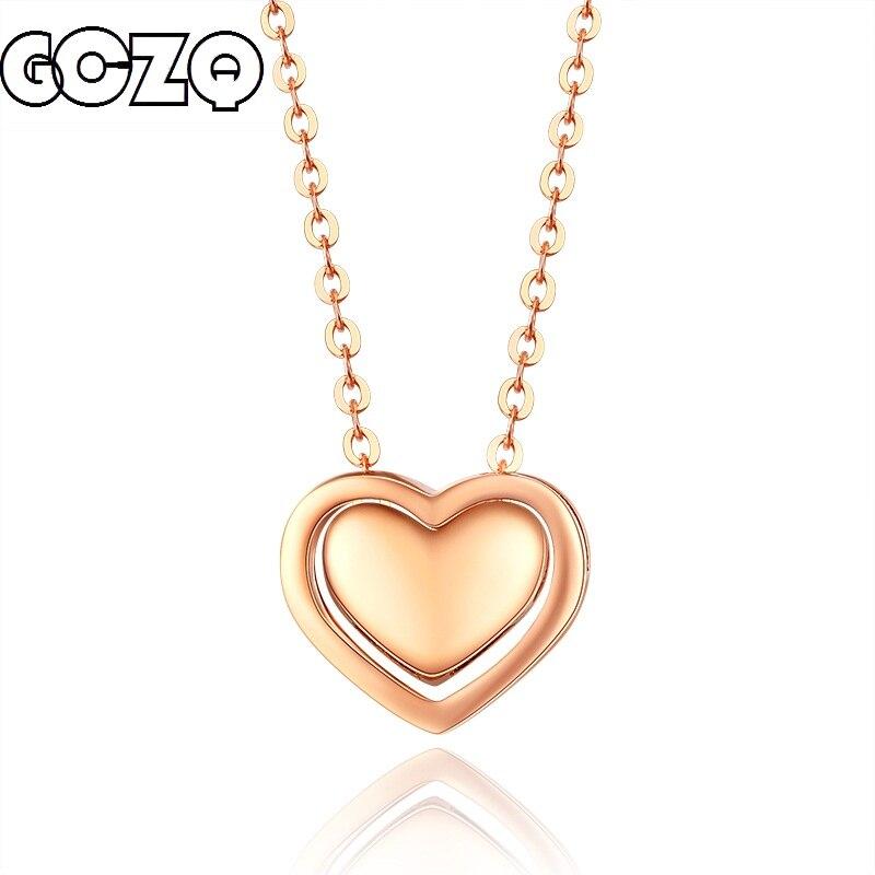 GCZQ 100% Véritable 18 k Or Collier Pendentif Pour Les Femmes en forme de coeur Chaîne Collier de Mode Beaux Bijoux pendentif ensemble 2.71