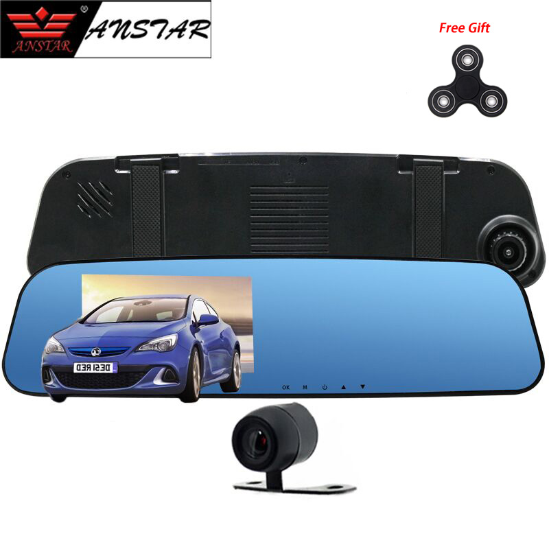 Anstar 4.3 Inch FHD 1200 Mega Rearview Mirror Dvr Parking Sensor Dual Cam Car Camera Mirror DVR Reversing Image Free Gift DVRs