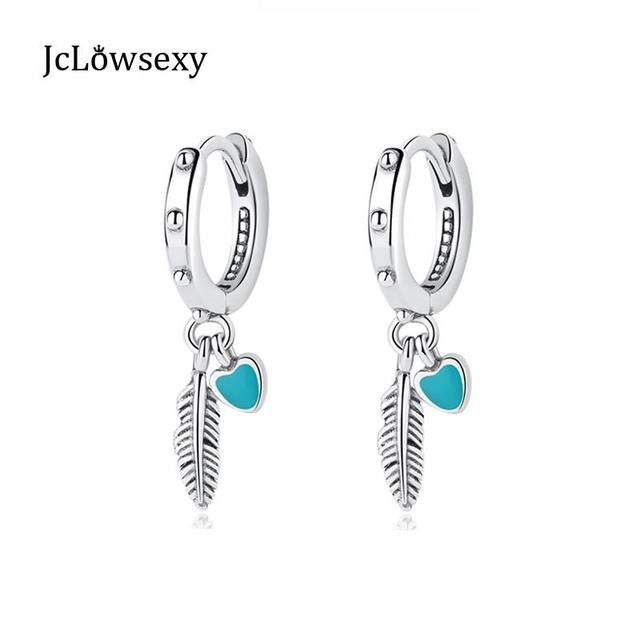 Original 100 925 Sterling Silver Drop Earrings Spiritual Feathers