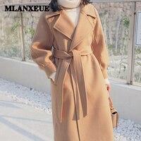 Plus size loose warm wool blends long winter coat turn down collar adjustable belt wool coats women office work wear elegant