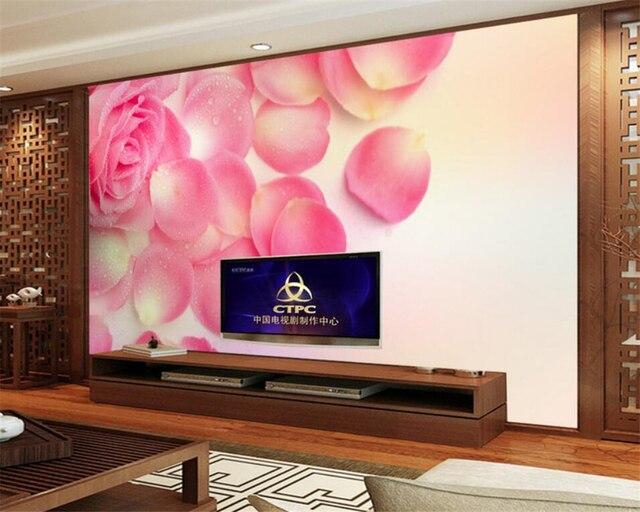 Camere Da Letto Romantiche Con Petali Di Rosa : Beibehang foto carta da parati romantico petali di rosa pittura di