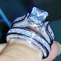 Victoria Wieck Princess Cut Antique Jewelry Dazzing 925 Sterling Silver White Topaz CZ Diamond Wedding Bridal