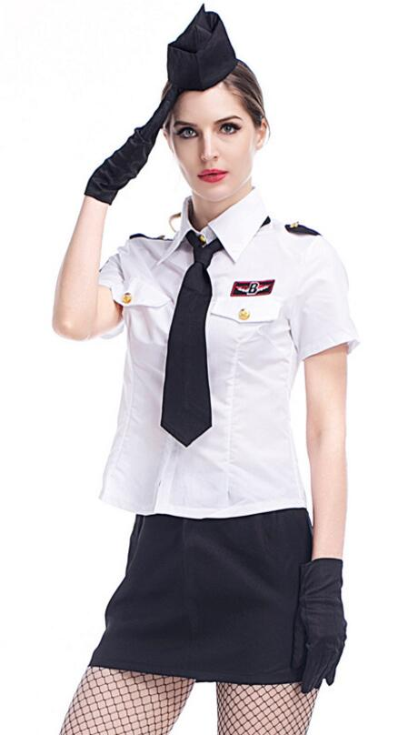 Adult Women Halloween Masquerade White Navy Uniform Cosplay Suit Navy Sailor Role Playing Sexy Dress