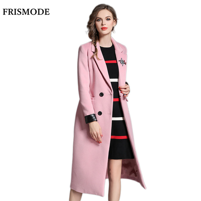 ff70f4039a612 L-5XL Plus Size Coat Women Double Breasted Slim Wool Jacket 2016 Winter  Fashion Pink