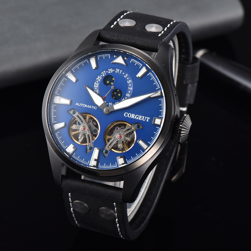 Corgeut 46mm Mens Automatic Watch Blue Dial Luminous Hands Black PVD Case WristWatch Date Flywheel Mechanical Watches CA3023PLCorgeut 46mm Mens Automatic Watch Blue Dial Luminous Hands Black PVD Case WristWatch Date Flywheel Mechanical Watches CA3023PL