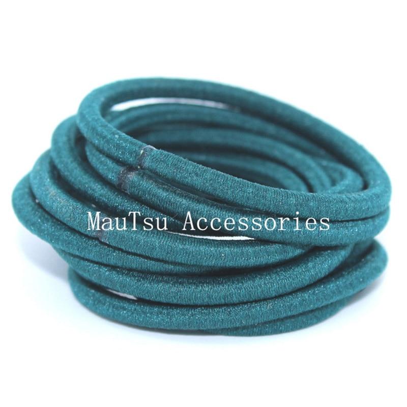 50PCS 4mm Blackish Green Elastic Ponytail Holders Hair Bandswith gluing connection,Elastic Hair Ties,circle length 16.0cm