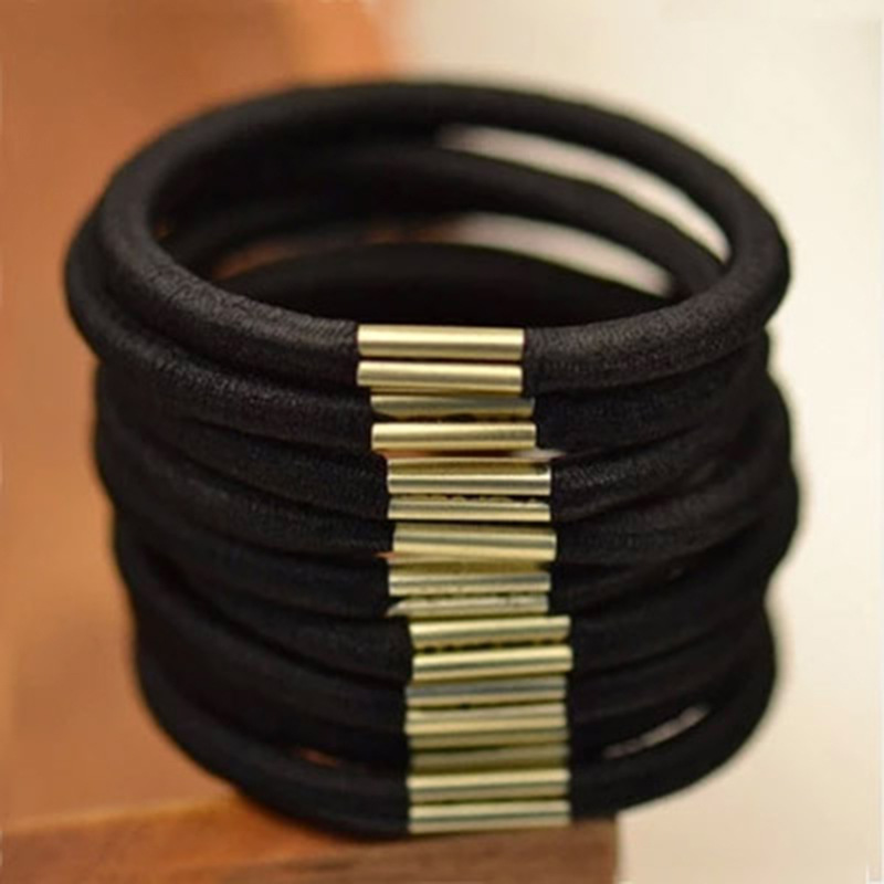PracticalHead Rope High Elasticity Black Hair Ring Iron Hair Rope Base Bottom Pure Black Leather Tendon Hair Decoration