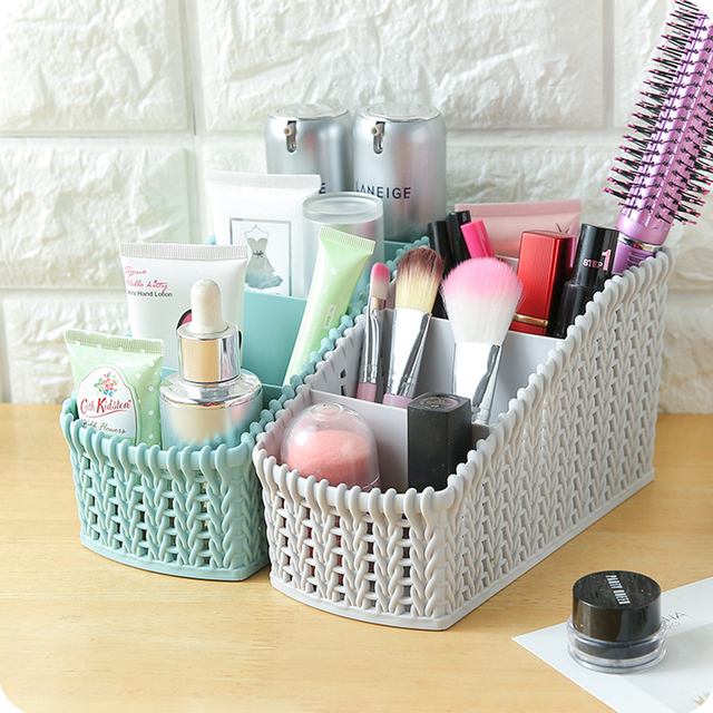 Makeup Organizer Cosmetics Box Plastic Storage Basket Imitation Rattan Baskets Desktop Sundries Make Up Boxes For Home Bathroom
