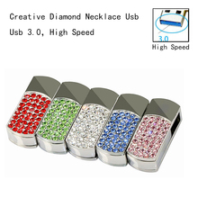 Usb 3.0!Hot Selling Diamond Jewelry Necklace Fashion Gift Pink USB Flash Drive 3.0 64GB Pendrives  Pen Drive 32GB 16GB USB Stick