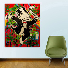 Alec Monopoly Run Cartoon Canvas Painting Prints Living Room Home Decor Modern Wall Art Oil Posters Pictures Cuadros HD