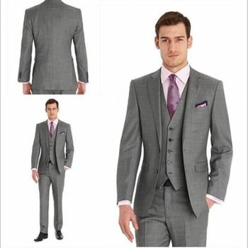 Men's suits Dark Gray Fashion Man Suits Tuxedos  groom Groomsmen Men's Wedding Suits 3 Pieces custom (Jacket+pants+Vest)