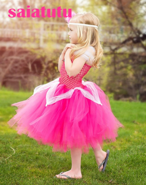 rose red princess flower girl wedding dress fluffy birthday evening prom cloth ball gown party rainbow multicolour tutu dress ball gown sky blue open back with long train ruffles tiered crystals flower girl dress party birthday evening party pageant gown