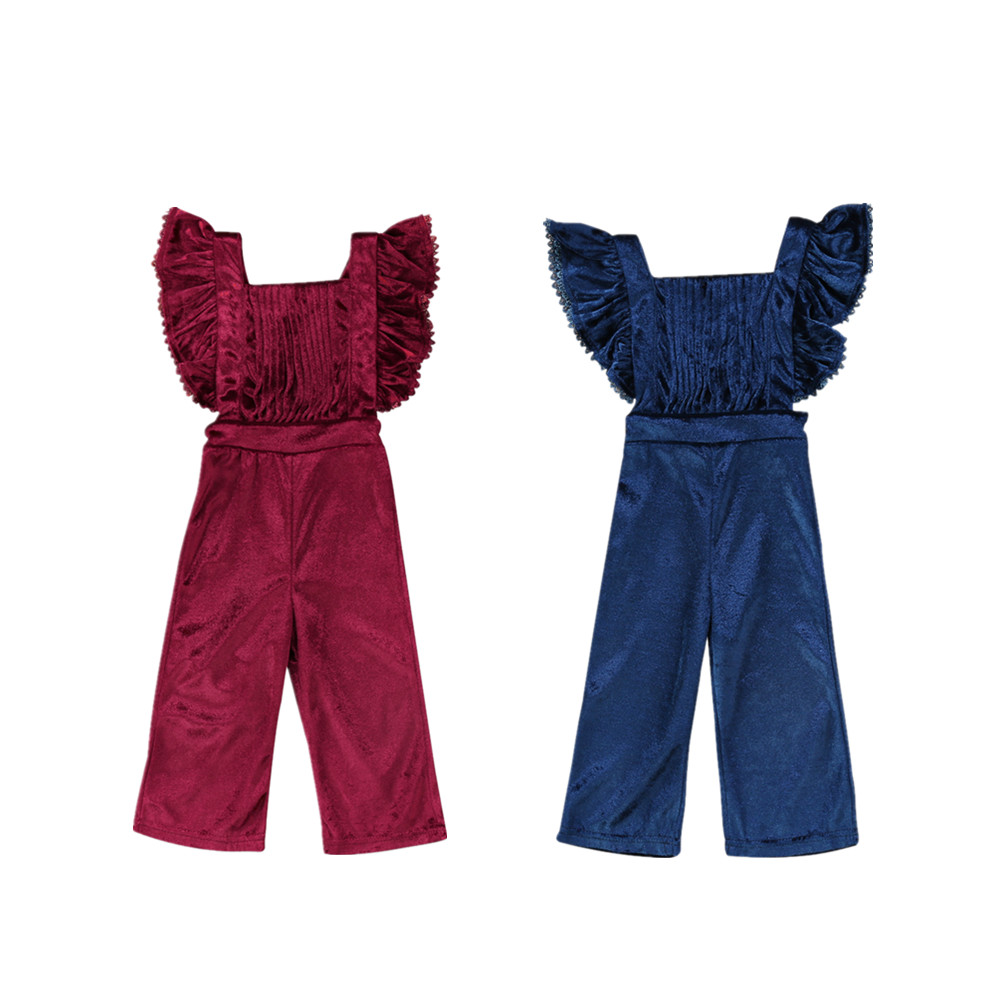 2017 Kleinkind Kinder Mädchen Samt Trägerhose Backless Strampler Overalls Overall Wein Rot Blau Outfits Nette Kleidung