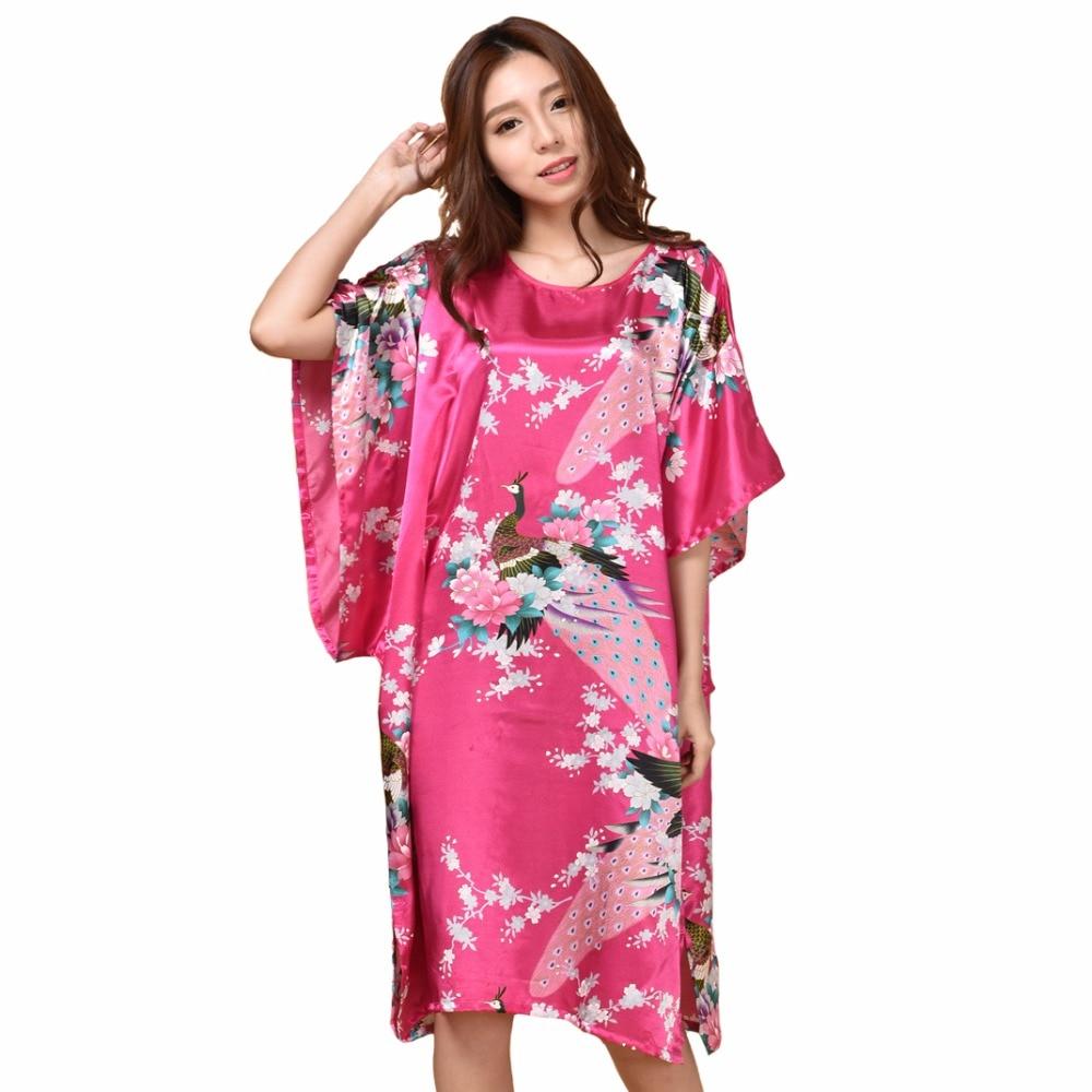 Summer Hot Pink Sexy Silk Rayon Home Dress Women Summer Nightdress Sleepshirt Robe Gown Kimono Bathrobe Plus Size 6XL A-071