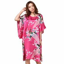Summer Hot Pink Sexy Silk Rayon Home Dress Women Nightdress Sleepshirt Robe Gown Kimono Bathrobe Plus Size 6XL A-071