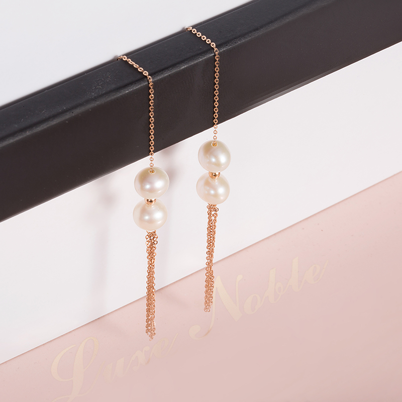AINUOSHI 18K Rose Gold Drop Earring Natural Freshwater Pearl Beads Long Chain Tassels Drop Dangle Earring Women Wedding Bijoux yoursfs 18k white gold plated black rose flower pendant drop hook earring for women