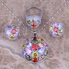 Multigem Multicolor Silver Jewelry Sets Earrings Pendant Ring For Women Size 6 / 7 / 8 / 9 / 10 / 11 / 12 S0025A