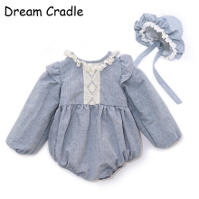 Dream Cradle / First Birthday Outfit Girl Linen BaBy Romper Set Retro Lace Toddler Baby Clothing