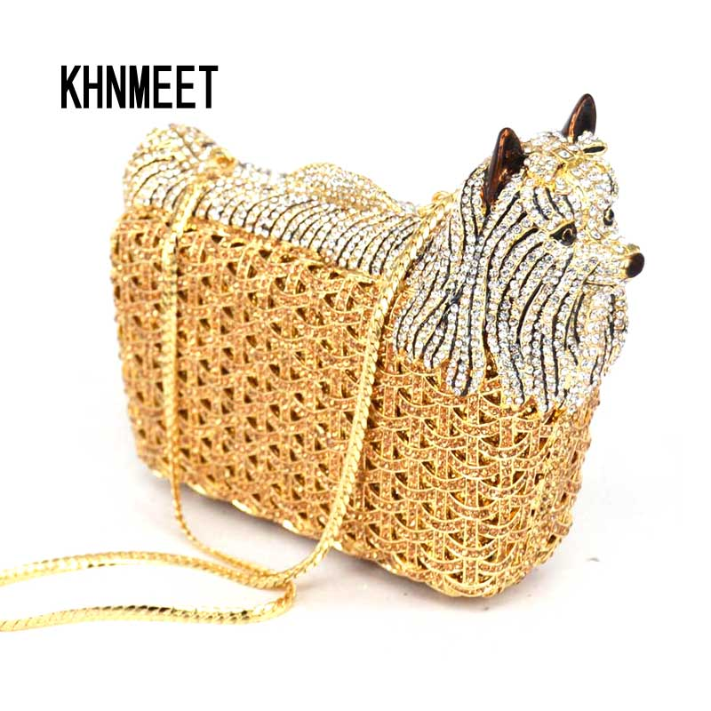 Purse-Bags Evening-Bag Crystal Women Classic Designer Luxury Ladies SC031 Day Dog Animal