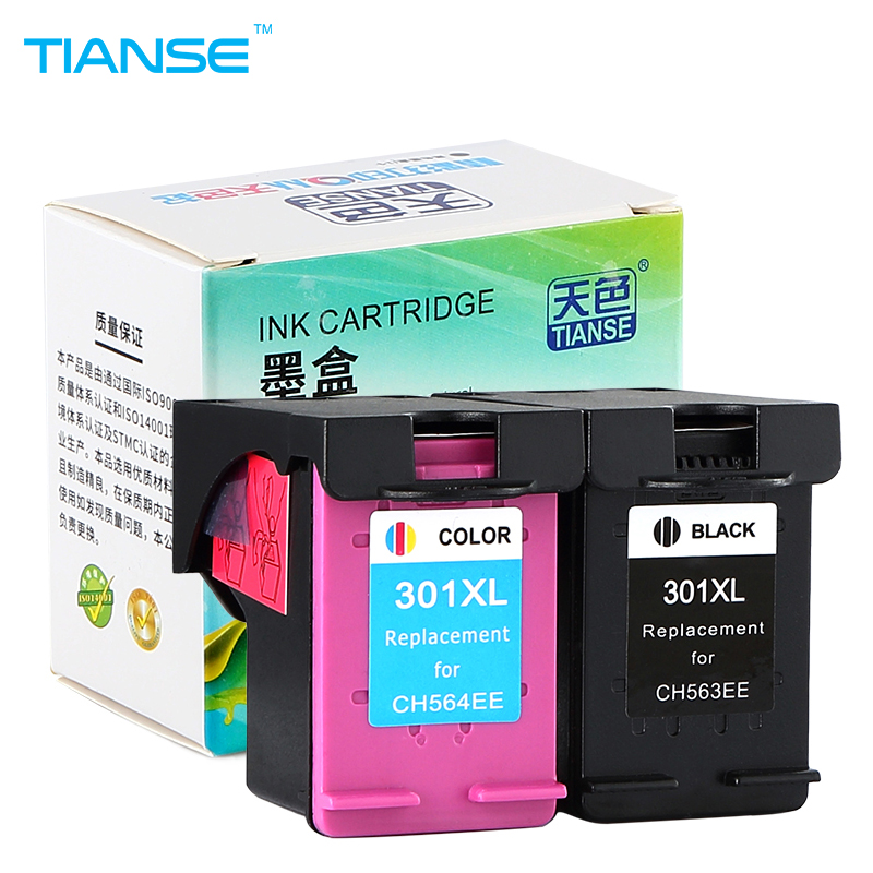 TIANSE 2pk 301XL for HP 301 HP301 XL replacement Ink Cartridge for HP Deskjet 1050 2050 2050s 2510 2540 3050 Envy 4500 4502 4504