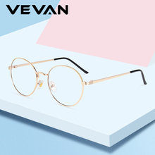 VEVAN 2019 Anti-blue Glasses Frame Women Alloy Spectacle Frame For Men Retro Round Glasses Transparent Glasses Computer Glasses
