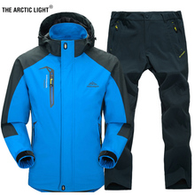 THE ARCTIC LIGHT Spring and Autumn Outdoor Single Hiking Camping Jacket Pants Mens Suit Windbreak Trekking Coat Trousers 5XL