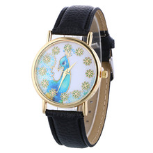 Casual Female Women Watches Women Peacock Patterns Leather Band Analog Quartz Wrist Watches Clock Women Relojes Mujer