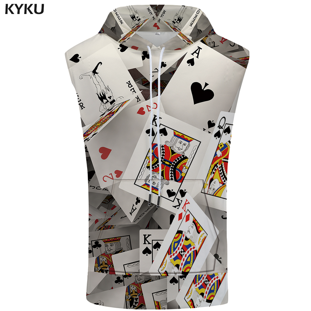 KYKU Brand Poker Sleeveless Hoodie Card Shirts Creative Stringer Fashion Shirt Bodybuilding Sweatshirt Mens Clothing Casual