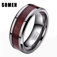 8mm Tungsten Carbide Ring Koa Wood Inlay Wedding Band High Polished Finish Comfort Fit