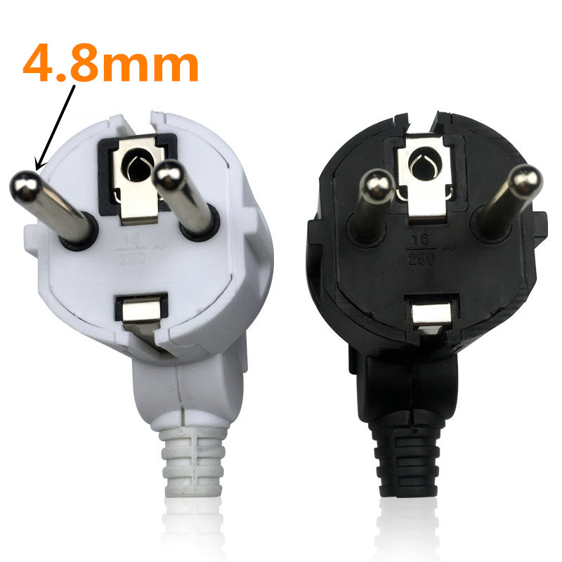 Eu AC Power Adapter Socket 16A 250V Connector Cable Electrical Plug White Black Male Converter Adaptor Detachable Plug