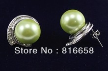 Free shipping Beautiful Green Southsea Shell Pearl Drop Dangle Earrings AAA Grade 6 10