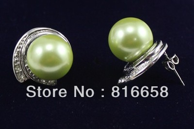 Free shipping Beautiful Green Southsea Shell Pearl font b Drop b font Dangle font b Earrings