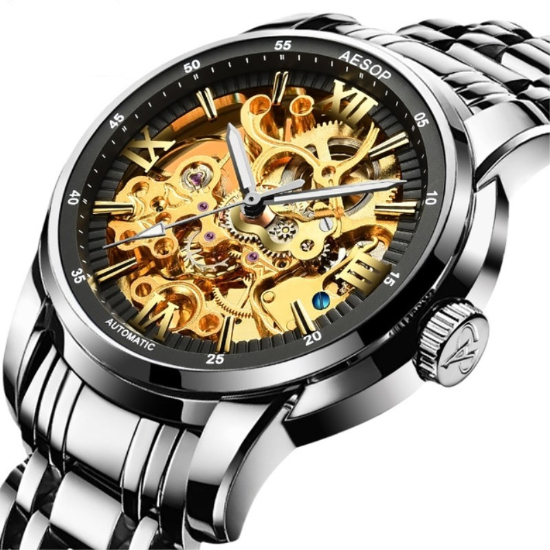 Sports Men s Hollow Automatic Mechanical Watch Man Army Military Time Clock Luminous Sapphire Crystal Dial