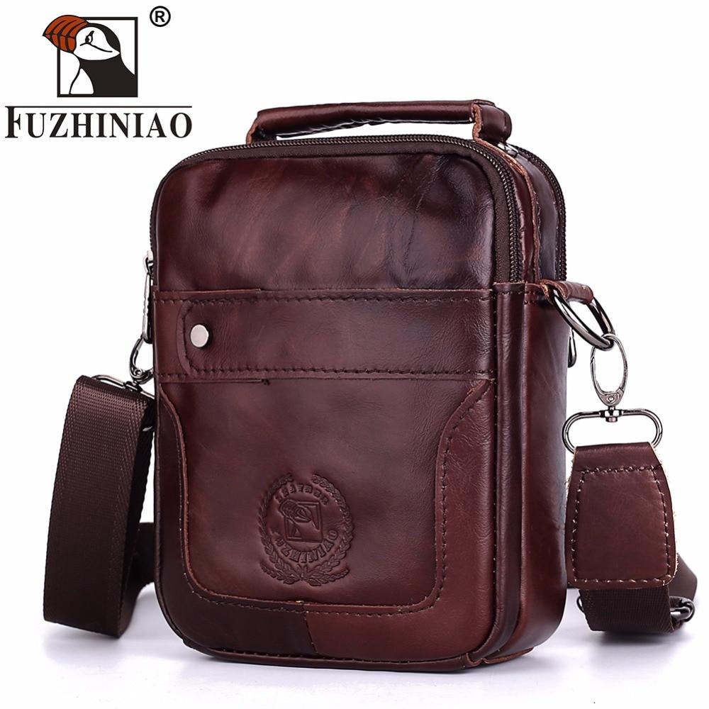 FUZHINIAO Genuine Leather Messenger Bag Men Handbag Shoulder Male Clutch Sac Crossbody Tote Sling for Mens Hand Bags Small Purse