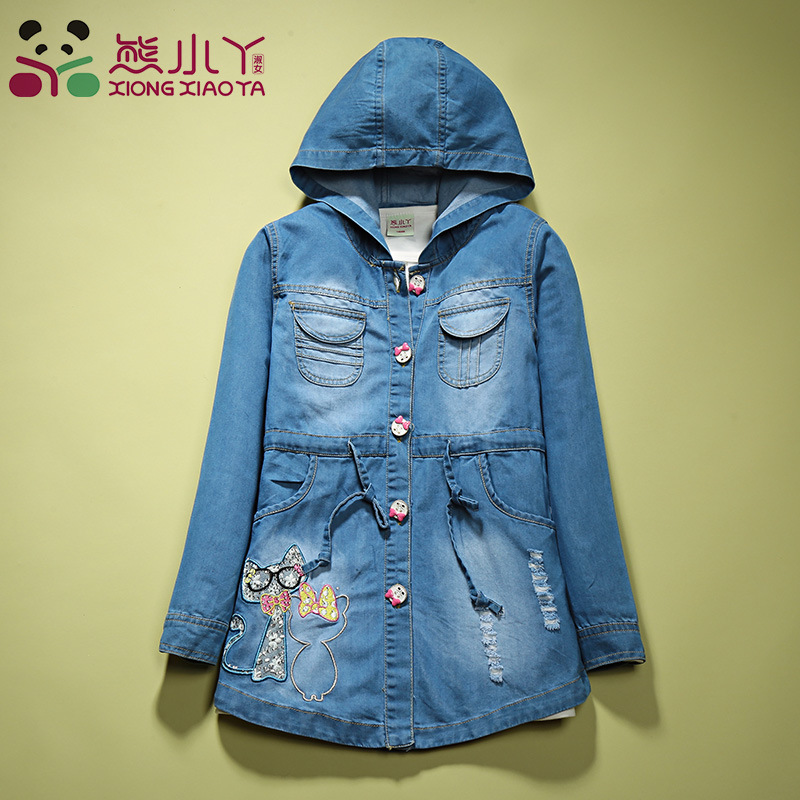 ФОТО Denim Jackets Kids Coat For Girls Fashion Clothes Baby Girl Outerwear Spring Autumn Children's Jacket Tops Jean Coats GH079