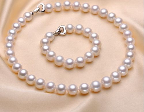 11-12MM NATURAL WHITE ROUND FRESHWATER CULTURED PEARL NECKLACE 18/'/' AAA+