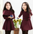 2016 autumn children's clothing girls sets solid long sleeve girl sets for girls kids suits princess dress +cape 2 pcs outfits