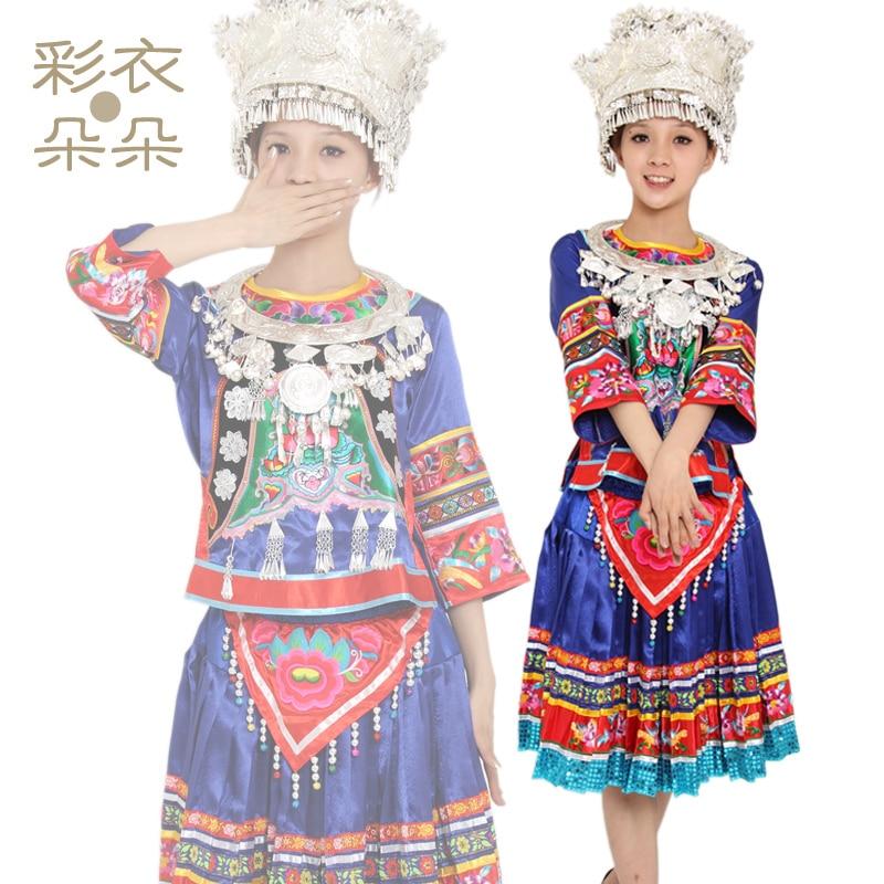Подкормки ручной работы вышивка мяо серебро одежда танец одежда 1035