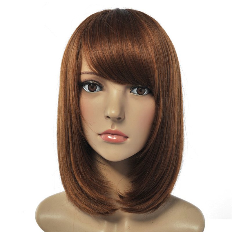 Soloowigs Straight Light Brown Full Lace Wig with Inclined Bang High Temperature Fiber Medium Length Bob Synthetic Hairpieces