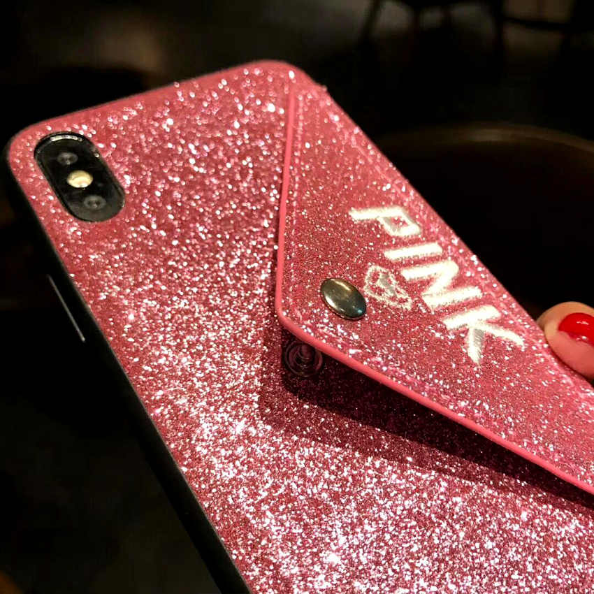 a34baae91602 ... PINK Luxury Glitter envelope Love Heart embroidery Cases For iphone X 7  8 Plus 6 6S ...