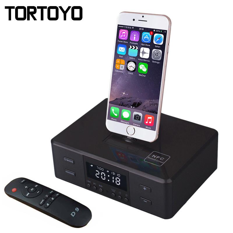 D9 Wireless Bluetooth Speaker Support Alarm Clock NFC FM Radio Charger Dock Station for iPhone 5 6 6S 7 Plus Android Smartphone kubei 290 wireless bluetooth v3 0 speaker w fm radio black