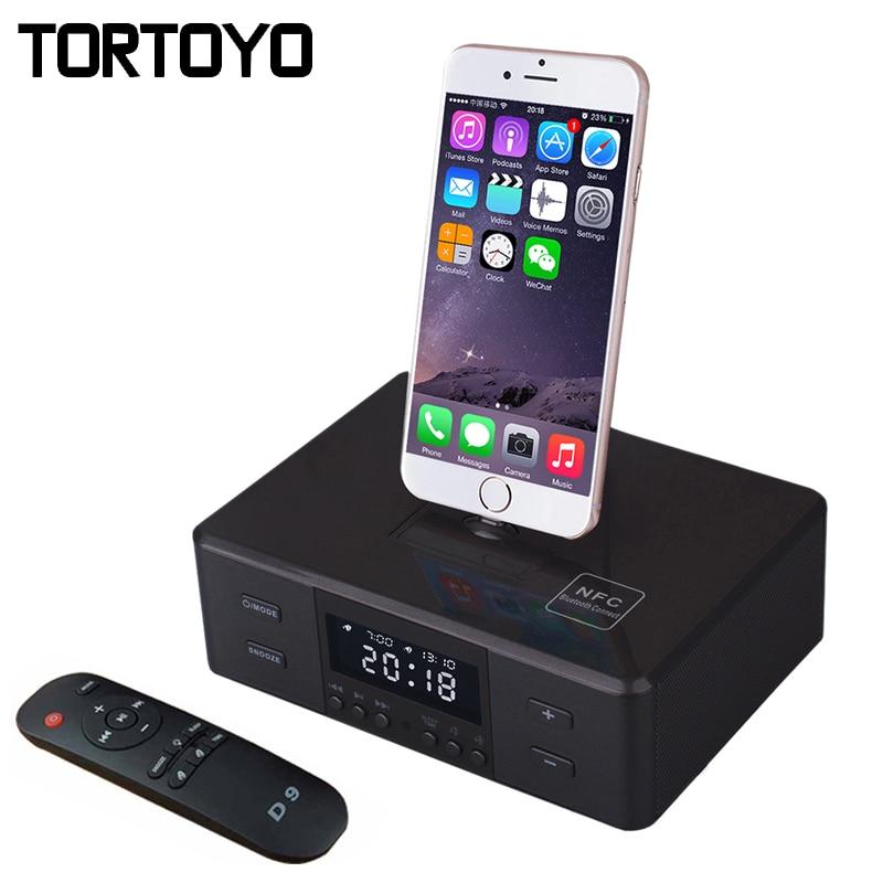 D9 Wireless Bluetooth font b Speaker b font Support Alarm Clock NFC FM Radio Charger Dock